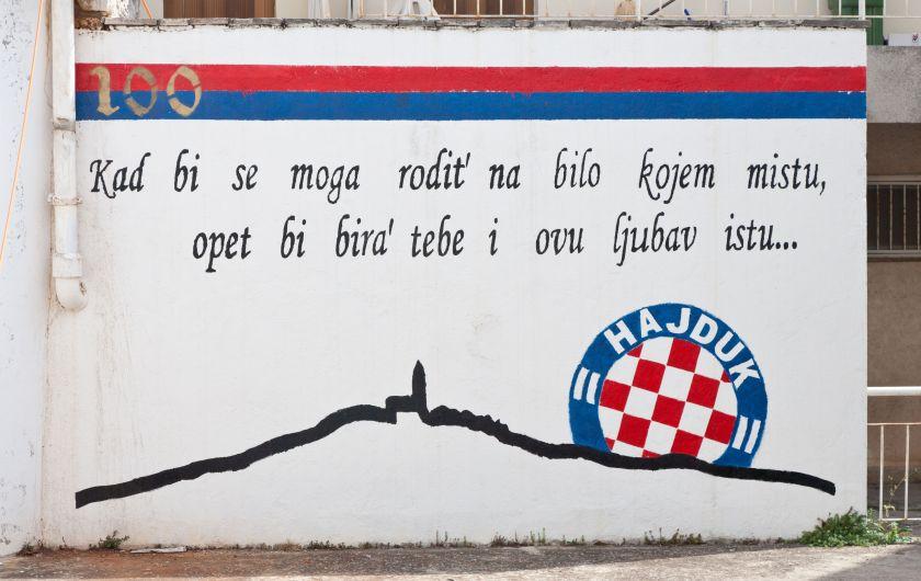 Hajduk Split 100th anniversary graffiti (mural) in Primosten.